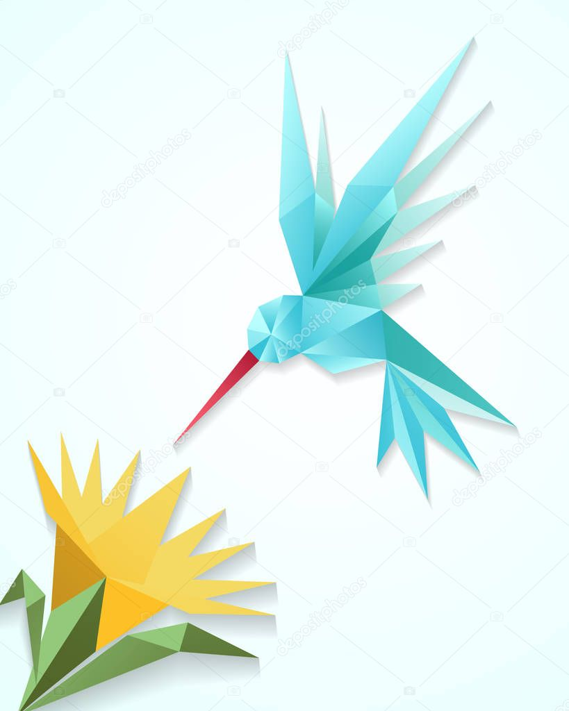 Origami hummingbird with flower. Paper 3D humming bird vector illustration