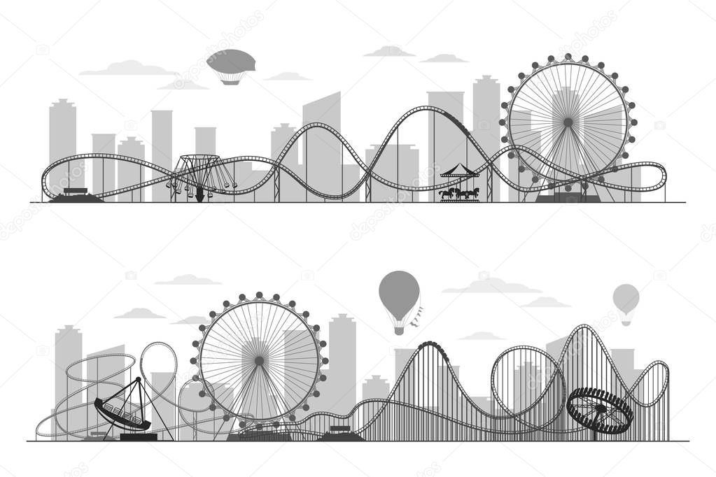 Fun fair amusement park landscape silhouette with ferris wheel, carousels and roller coaster