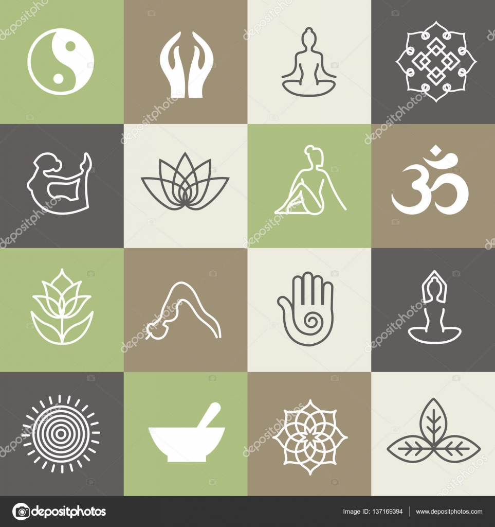Yoga-Symbole und Posen für Pilates Studio oder Zen gesunde ...
