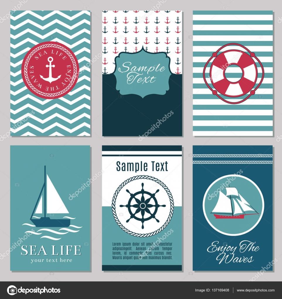 Marine Banner Oder Sommer Nautischen Einladungskarten Entwerfen, Einladung