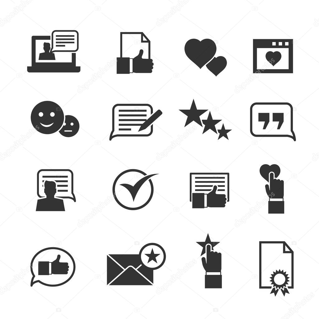 Consumer loyalty icons. Customers testimonials signs and users experience rating symbols