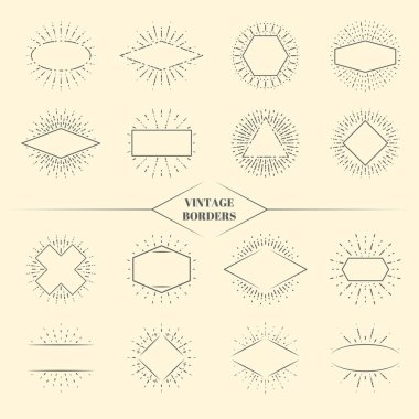 Vintage beauty sun rays borders or retro circles star exploding frames vector illustration