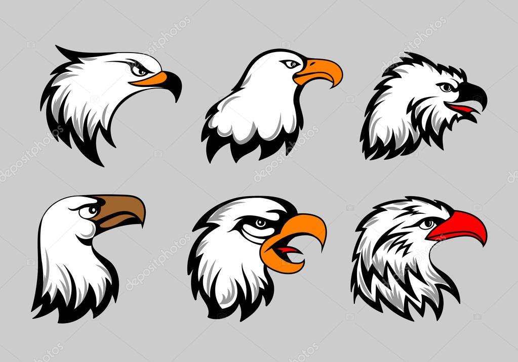 Bald eagle mascot heads vector illustration. American eagles head set for logo and labels