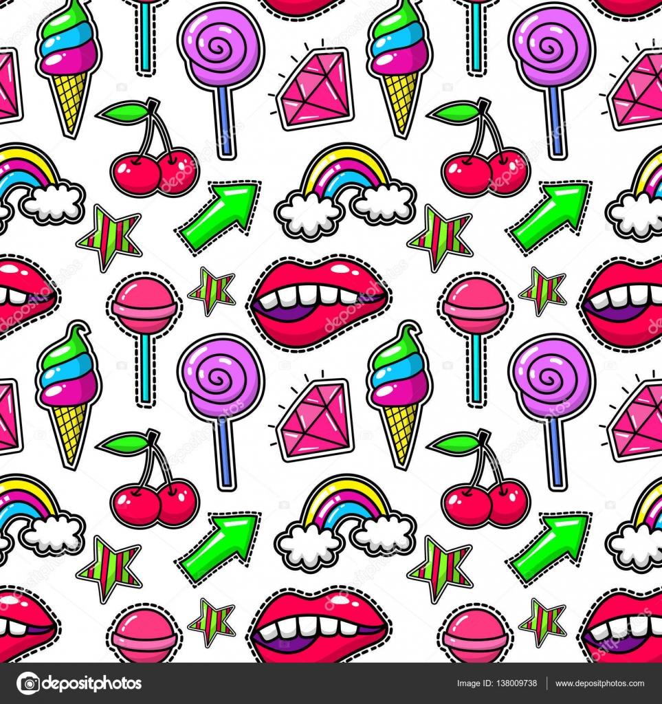 Fondo retro moda moderno con cristal y los labios, arco iris helados ...
