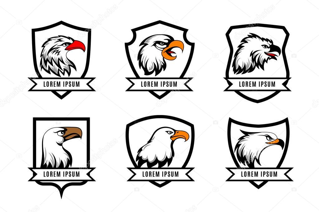 Vector eagle or american falcon heads with shields logo templates