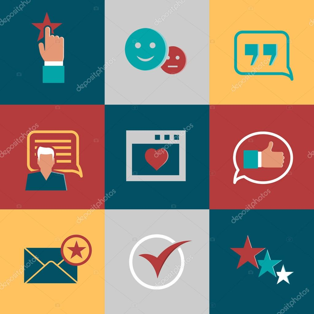 Vector consumer loyalty flat icons. Happy clients and business relationships