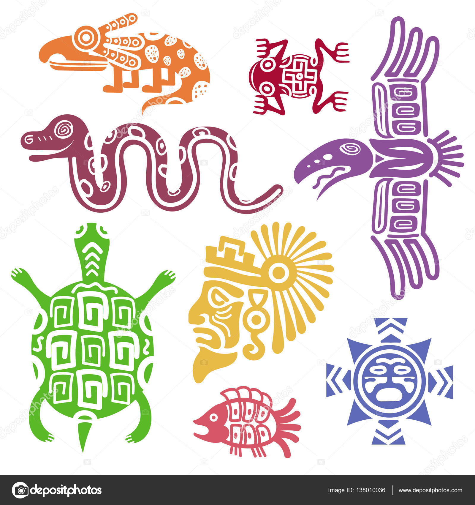 Ancient mexican symbols vector illustration mayan culture indian ancient mexican symbols vector illustration mayan culture indian symbols with totem patterns animal turtle and snake fish and colorful totem vector by buycottarizona Choice Image