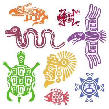 Ancient mexican symbols vector illustration. Mayan culture indian  with totem patterns
