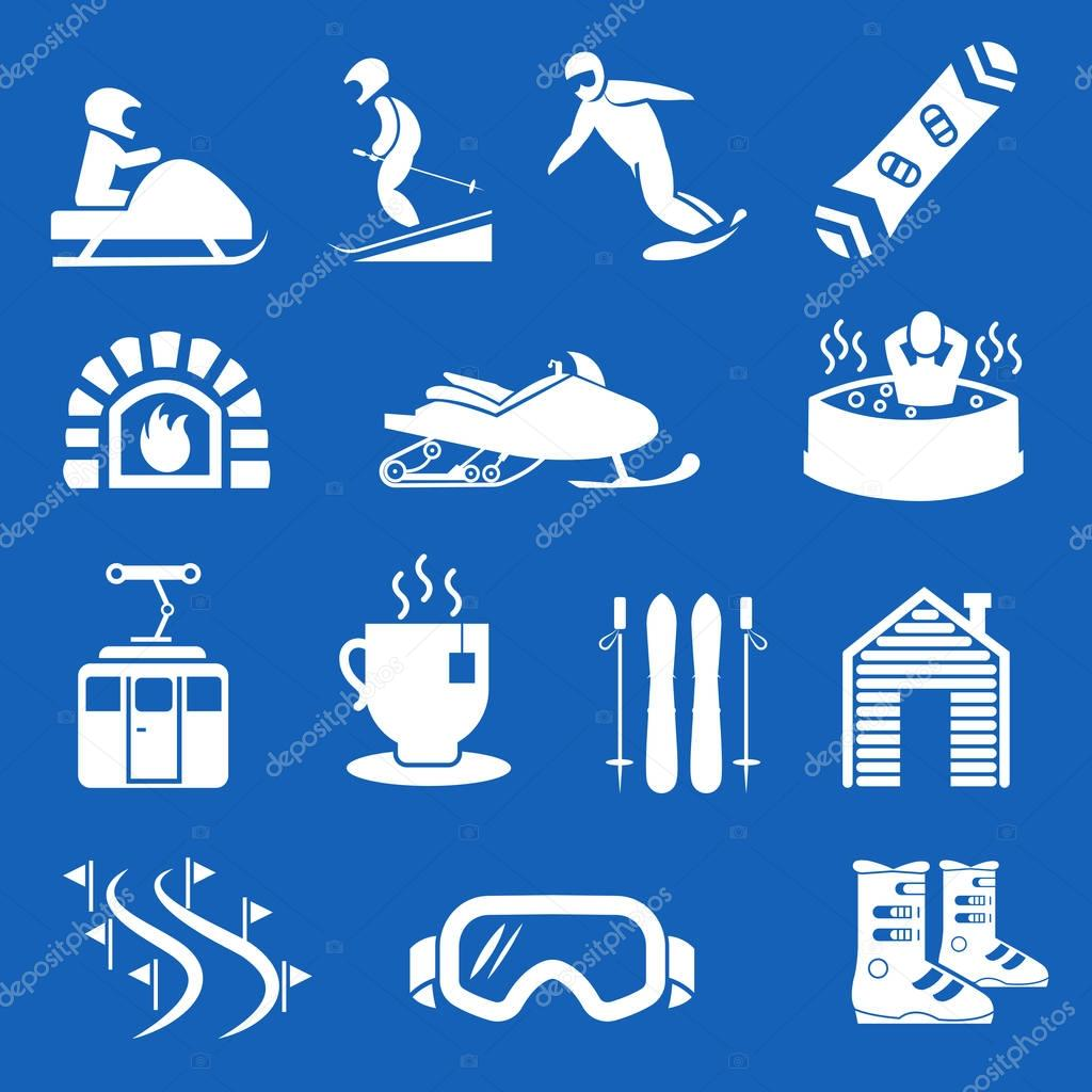 Mountain winter resort and sport hotel icons. Ski snowboard holiday signs