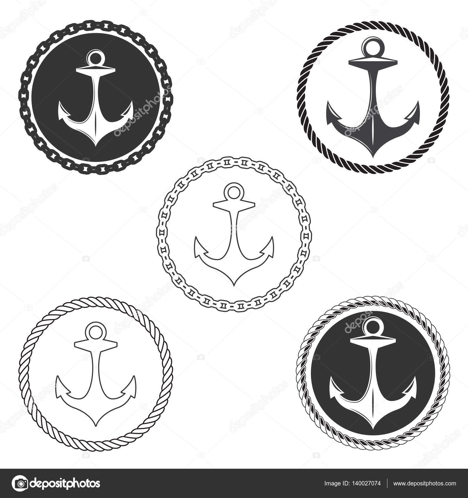 vintage anchor logo elements set with boat rope and ship