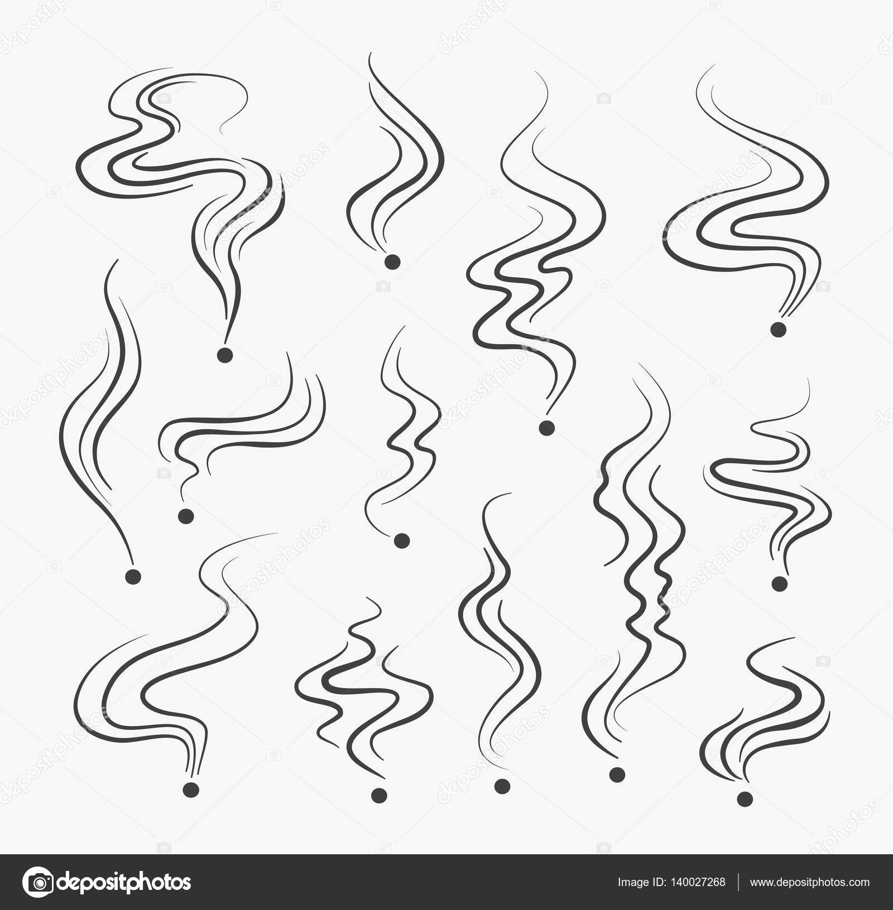 Vector Drawing Lines Opengl : 喫煙は煙線のアイコンです。ベクトル煙臭いスパイラル香り標識 — ストックベクター mssa