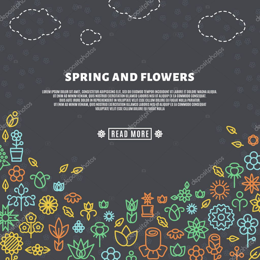 Spring background with line flowers icons
