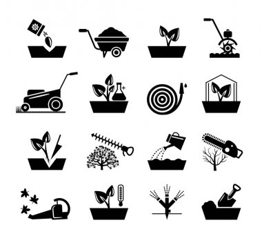 Gardening and flowers icons. Hosepipe lawnmower, wheelbarrow shovel tools vector signs