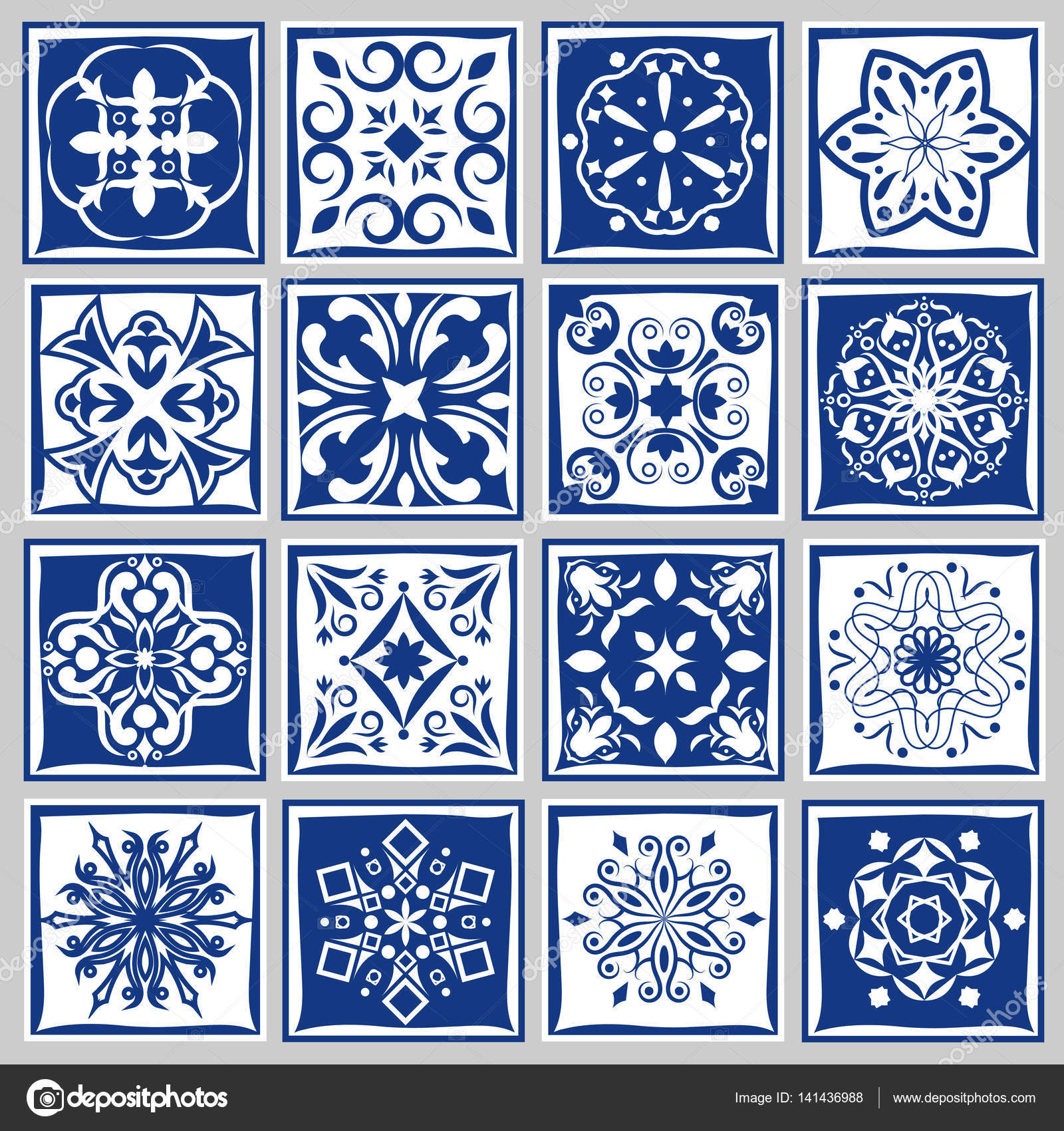 Tile patterns with flowers for bath or kitchen. Floral tiles motif ...