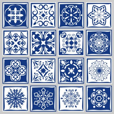 Tile patterns with flowers for bath or kitchen. Floral tiles motif in moroccan spanish style