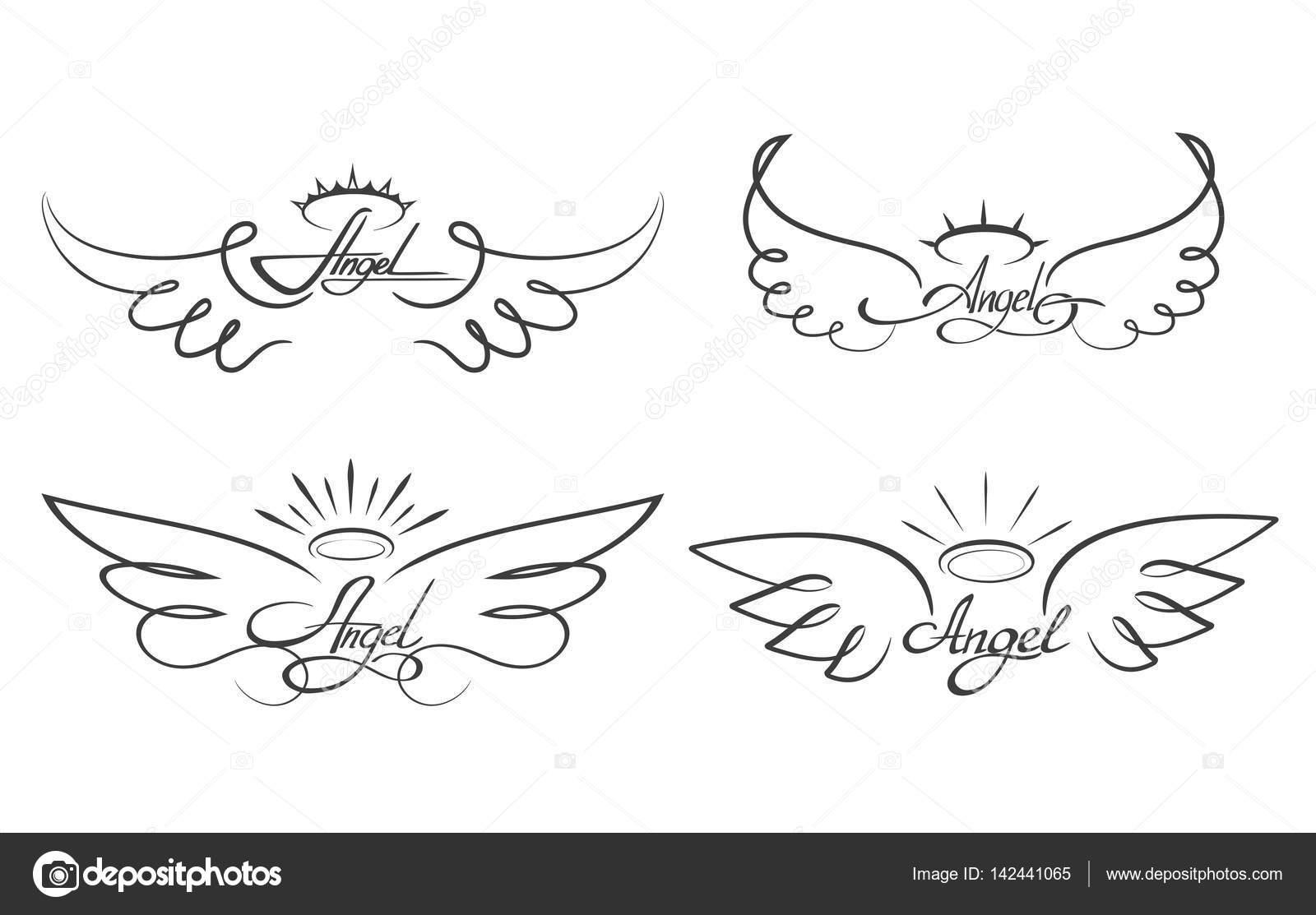Illustrazione Vettoriale Di Ali Di Angelo Alato Icone Del Tatuaggio
