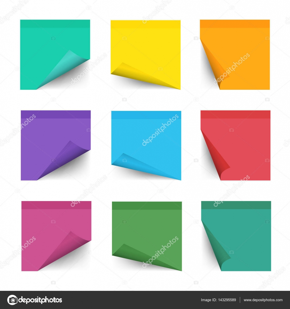 Paper Work Notes Isolated On White Background Sticky Note For