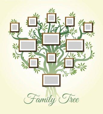 """Картина, постер, плакат, фотообои """"семейное дерево с векторной иллюстрацией рамок. родители и дети фотографии, династии поколений """", артикул 143367269"""