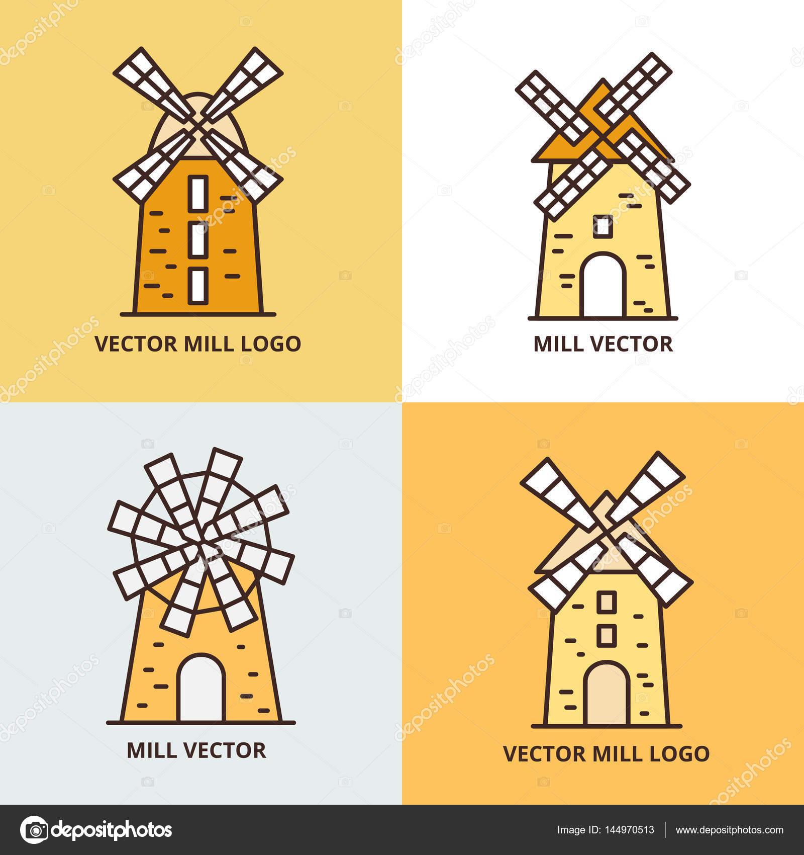 Molino de viento retro logo conjunto iconos de vector de - Molino de trigo ...