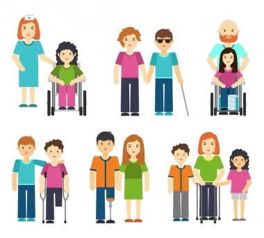 Disabled people with helping vector illustration. Wheelchair patient nurse, handicapped person