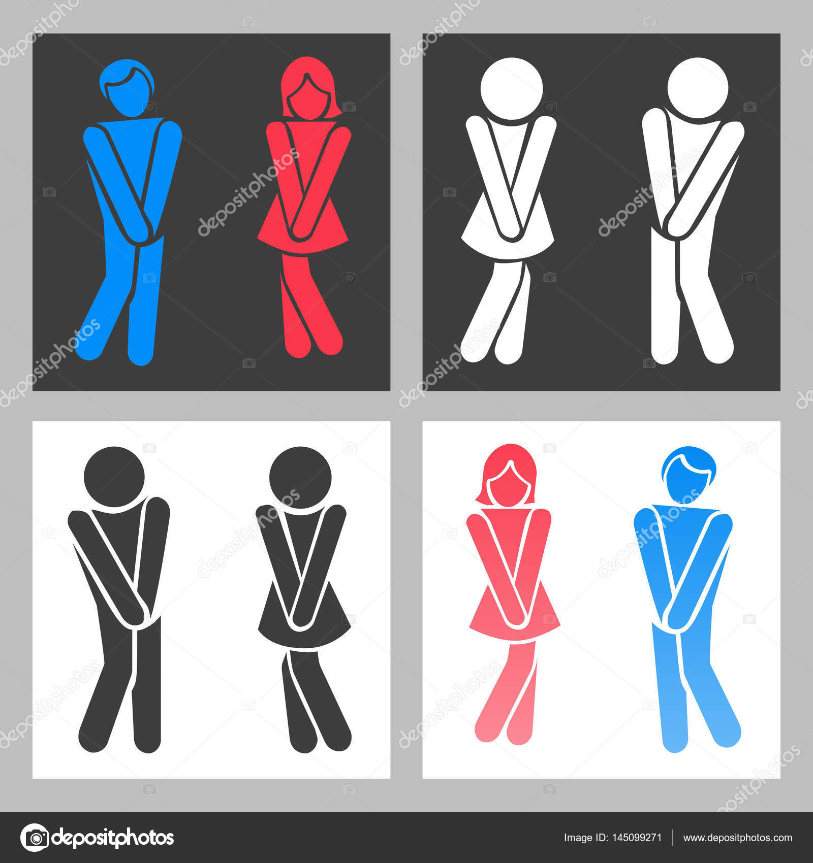 Wc Sign Vector Funny Boy And Girl Toilet Icons Or Female Male