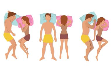 Couple sleeping poses. Man and woman resting and dreaming positions vector illustration