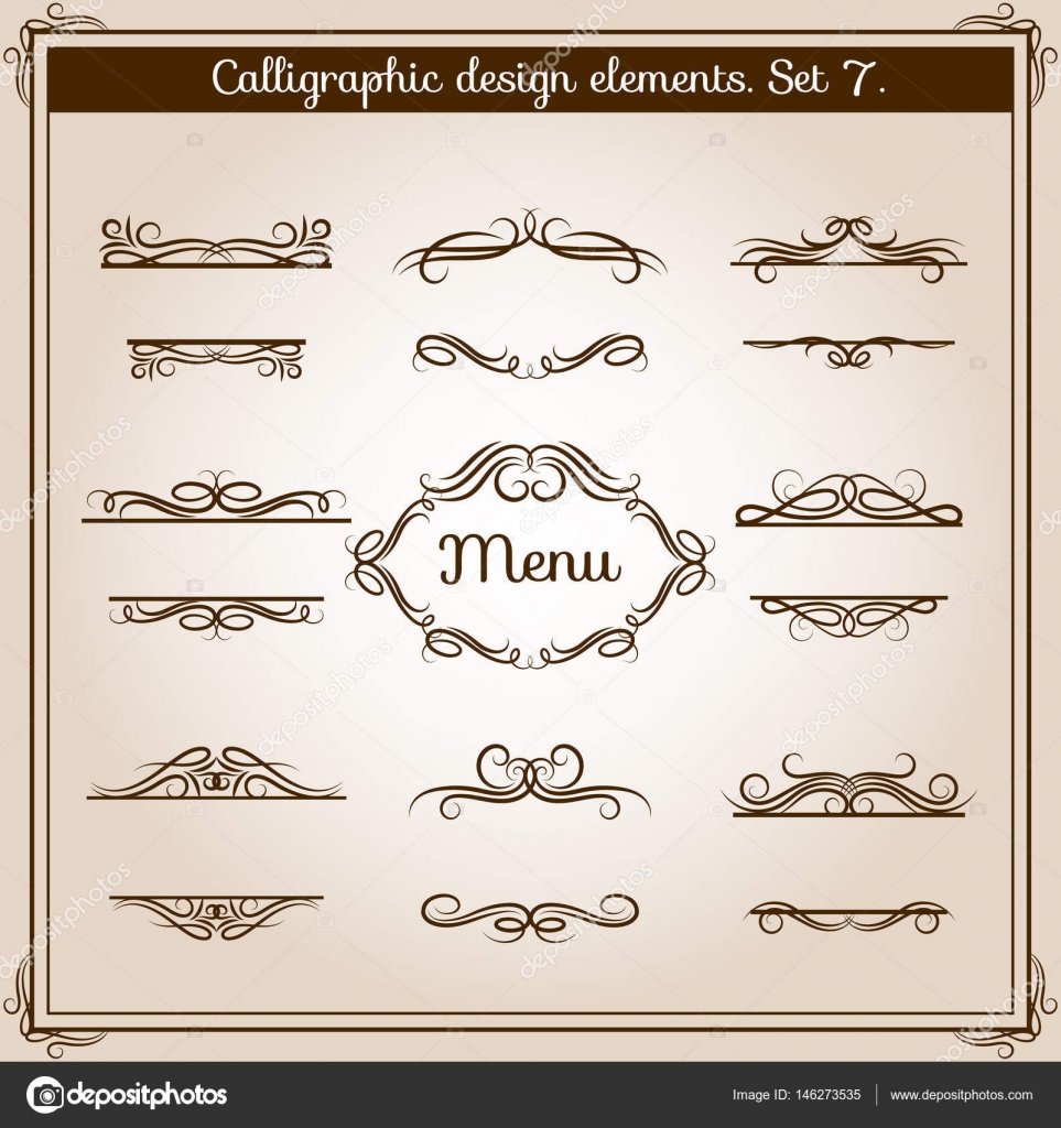 Ornamental Design Antique Elements For Text Vector Graphic Vintage Floral Calligraphic Border Lines Stock