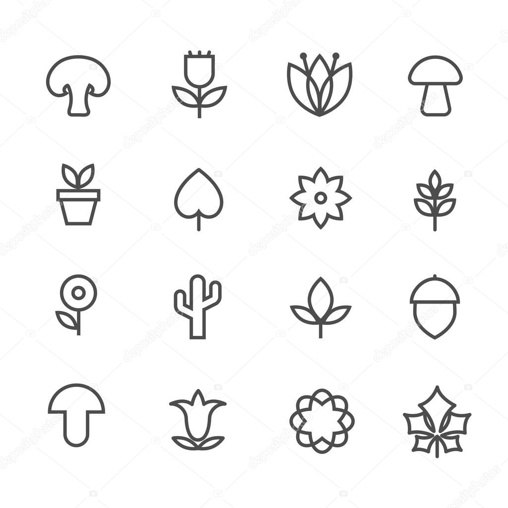 Linear nature icons. Vector thin line flowers and trees, leaves and mushrooms signs