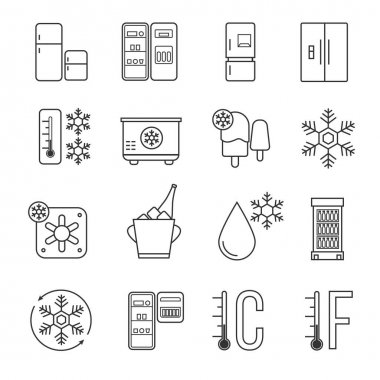 Refrigerator, home freezer and industrial fridge linear icons. Food frozen and cold machine thin line signs. Equipment for kitchen, refrigerator functions technology illustration clip art vector