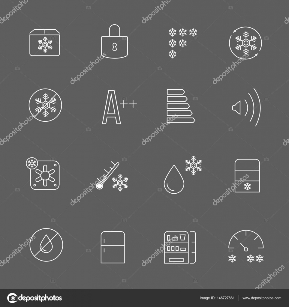 Eisige Zeichen und Symbole Gefriergerät. Kühlschrank-funktionale ...