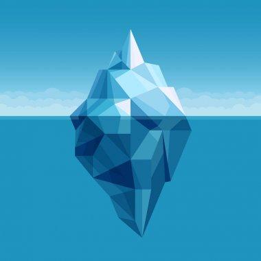 Ocean iceberg antarctic landscape vector background. Iceberg in cold water ocean or sea illustration stock vector