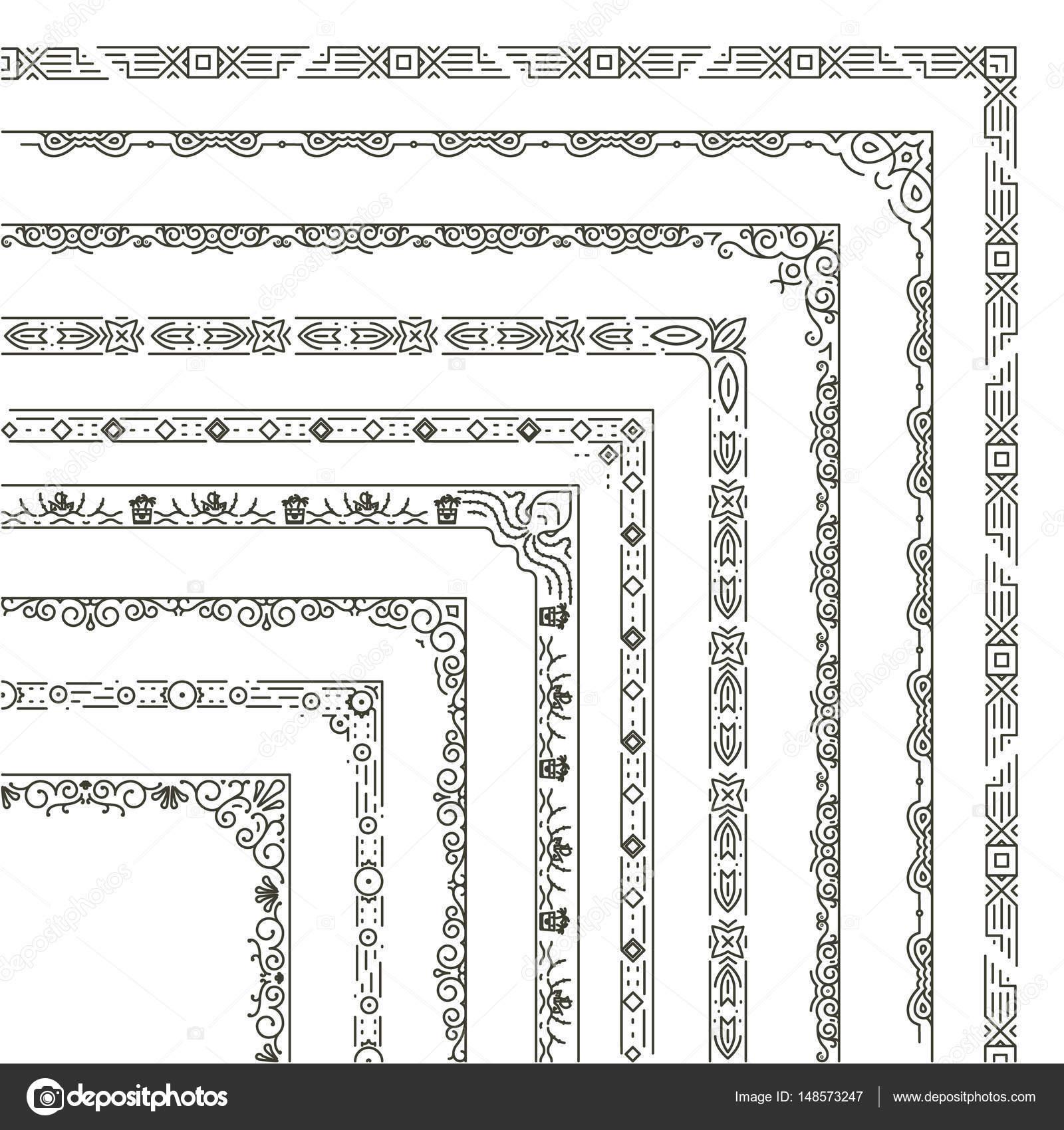 Bordes y esquinas del marco ornamentales vector — Archivo Imágenes ...