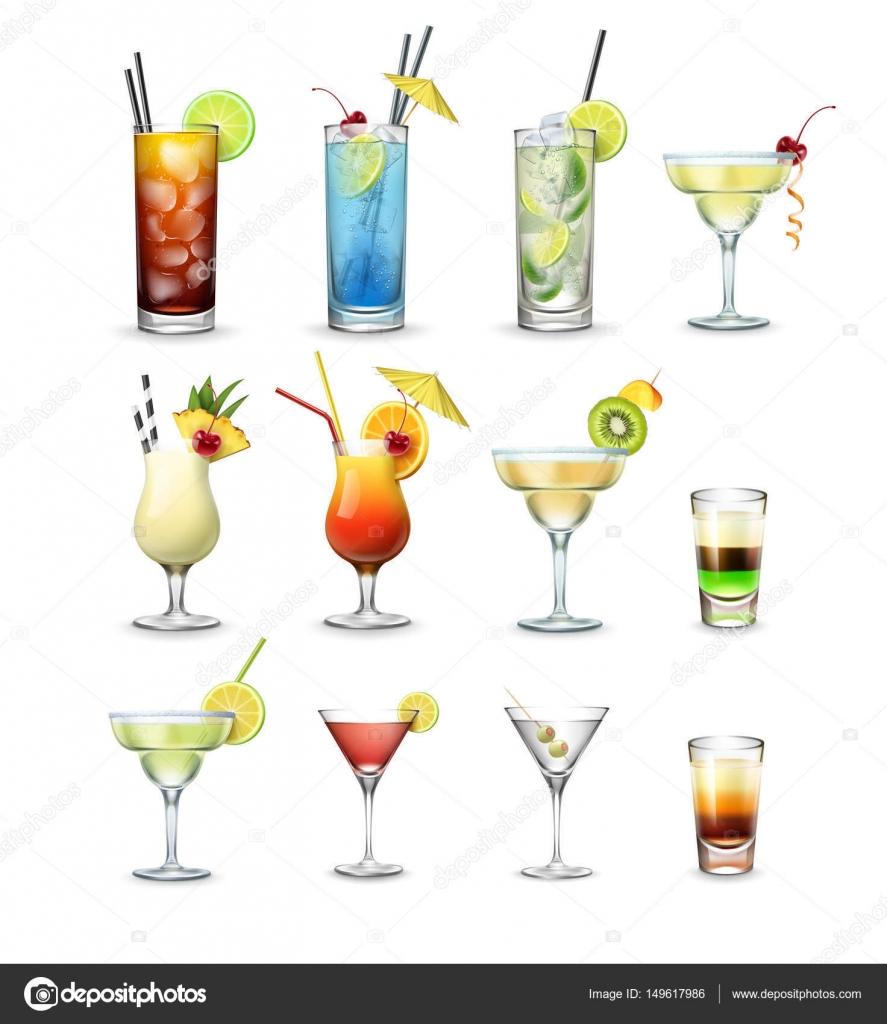 Miraculous Beliebte Cocktails Photo Of Vektor-set Und Shots Cuba Libre, Blue Lagoon,