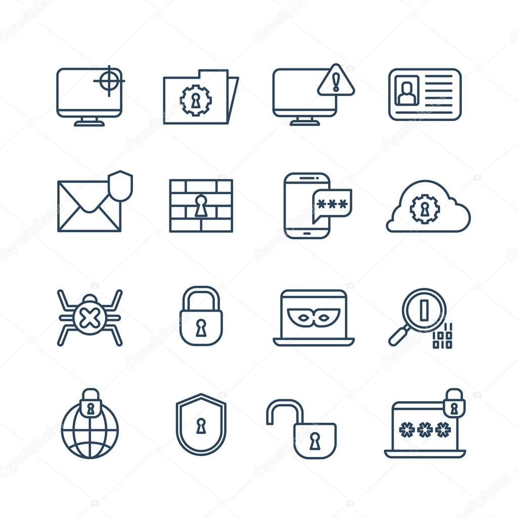 Cryptography, internet security and biometric protection outline vector icons