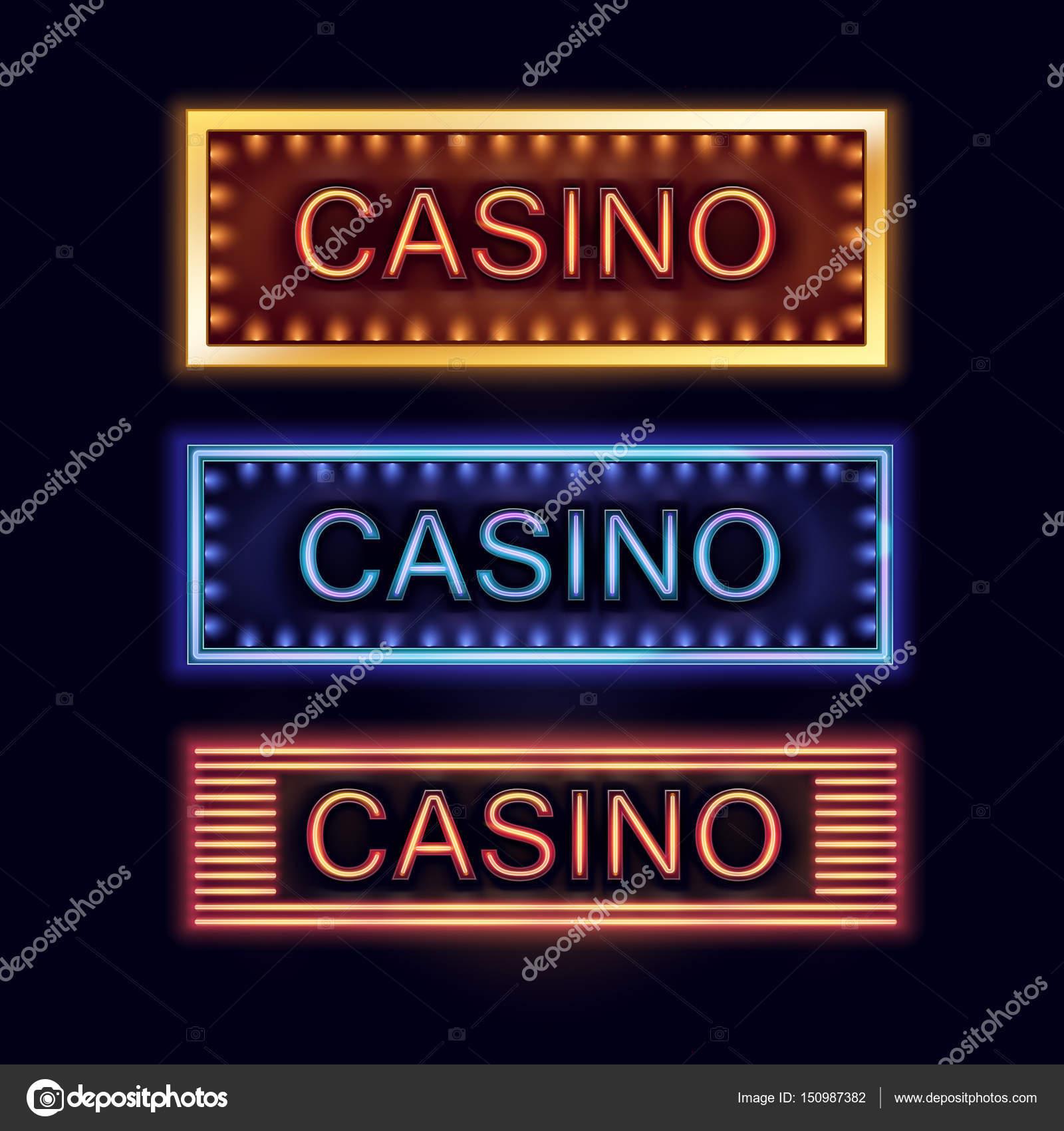 casino van de verlichte borden stockvector