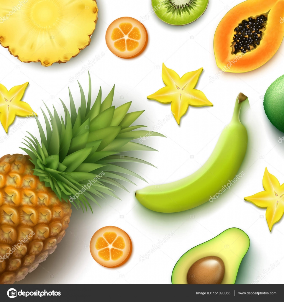 Plant top view vector in group download free vector art stock - Vector Tropical Fruits Background With Whole And Half Cut Pineapple Kiwi Papaya Banana Carambola Kumquat Top View Vector By Mssa