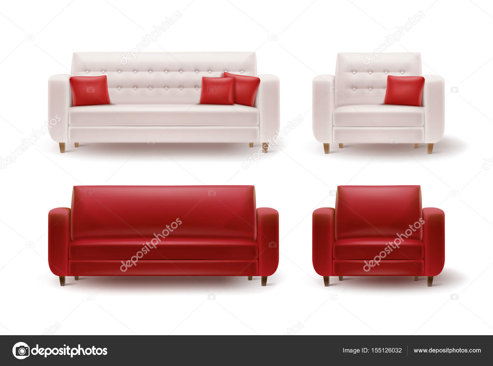 Set Of Armchairs With Sofas Stock Vector C Mssa 155126032