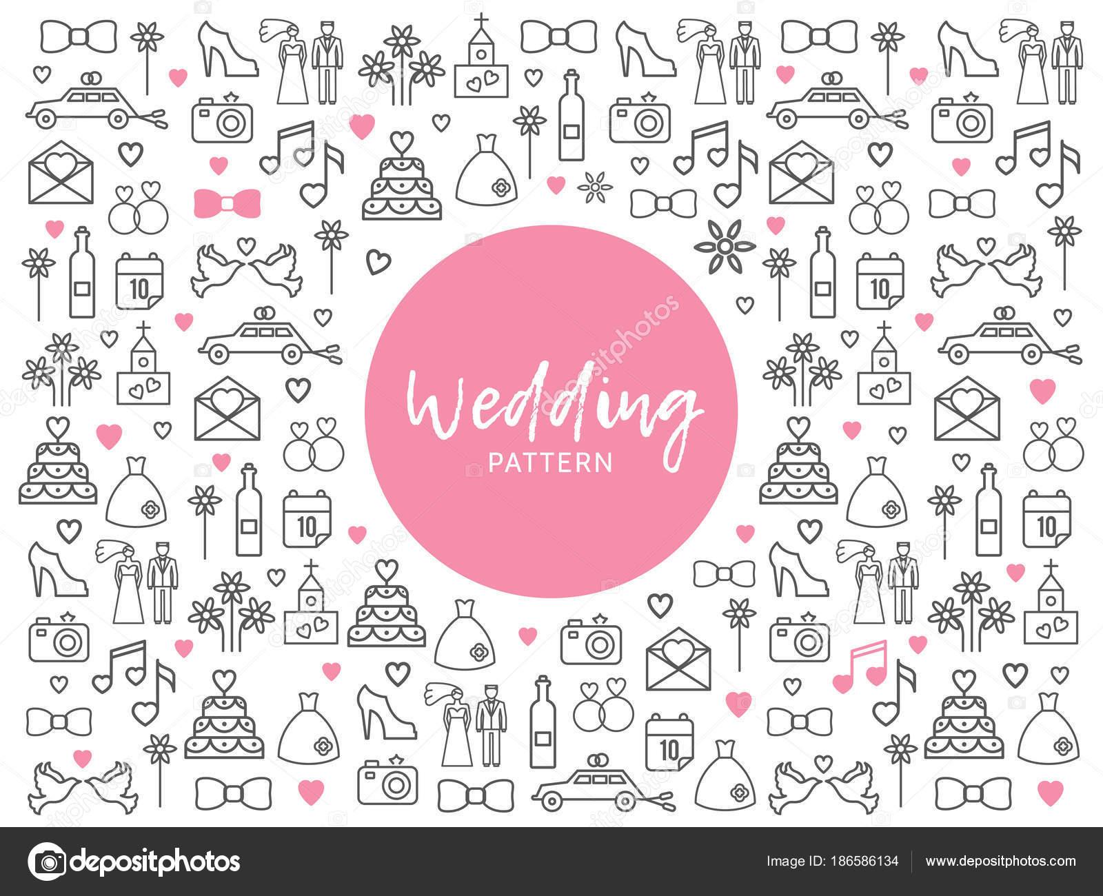 Patrón de los iconos de la línea de novia — Vector de stock © MSSA ...