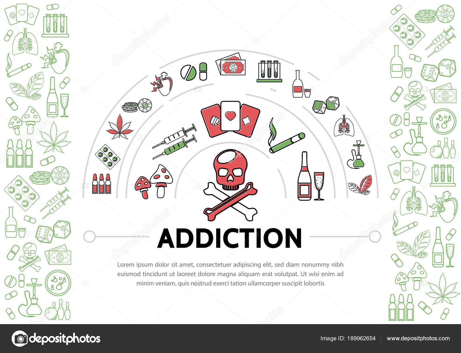 Plantilla de adicciones perjudiciales — Vector de stock © MSSA ...