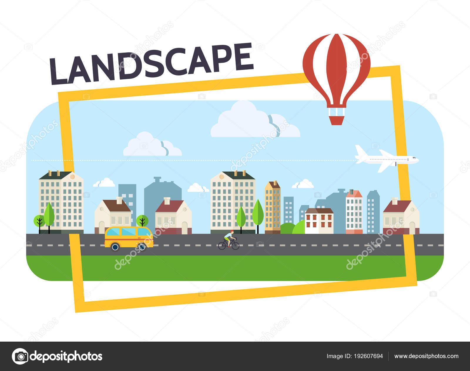 Composición de paisaje plano ciudad — Archivo Imágenes Vectoriales ...