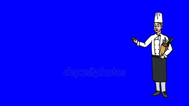 Animovaná postava kuchař či kuchařka stojí v plném růstu a říká, obrysu křivky. Modrá obrazovka - Chroma klíč. Animace, smyčce