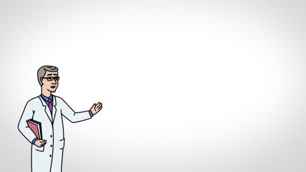 Der animierte Charakterarzt oder Sanitäter steht im Vordergrund und sagt, glatte Kontur. weißer Hintergrund. Animationsschleife.