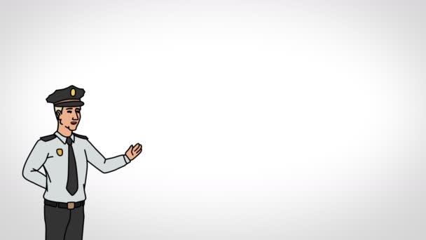 Der animierte Charakterwächter oder Wächter steht im Vordergrund und sagt, glatte Kontur. weißer Hintergrund. Animationsschleife.