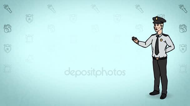 Animovaná postava stráž nebo hlídač stojí v plném růstu a říká, obrysu křivky. Tyrkysové pozadí. Animace, smyčce