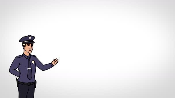 Der animierte Charakterpolizist oder Polizist steht im Vordergrund und sagt, glatte Kontur. weißer Hintergrund. Animationsschleife.