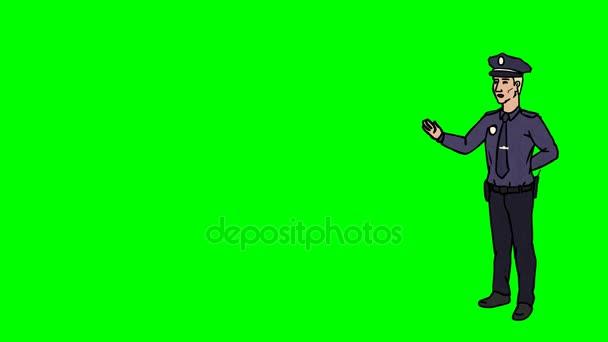 Animato personaggio poliziotto o poliziotto sta in piena crescita e dice, contorno curva. Schermo verde - Chroma key. Animazione in loop