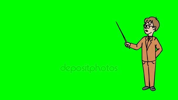 Animato carattere scolaro con occhiali sta in piena crescita e dice, contorno curva. Schermo verde - Chroma key. Animazione in loop
