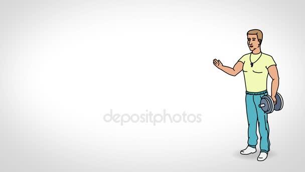 Der animierte Charaktersportler oder Trainer steht in vollem Wachstum und sagt, glatte Konturen. weißer Hintergrund. Animationsschleife.