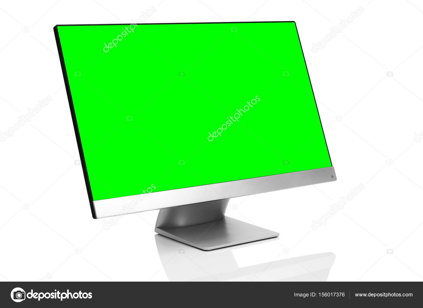 Sleek Modern Computer Display With Blank Green Chroma Key Screen Front Side View Tilted And Isolated On White Background Reflection Photo By