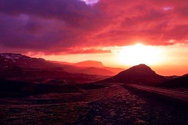 Crimson sunset overlooking Tindfjall, Snaefellsnes Peninsula, Iceland